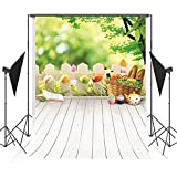 5x7ft (150x220cm) Easter Photo Studio Background Basket Colorful Eggs Photography Backdrop Wood Floor Photographic Backdrops