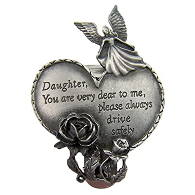 Fine Pewter Guardian Angel Daughter Heart Auto Visor Clip, 2 3/4 Inch: Automotive