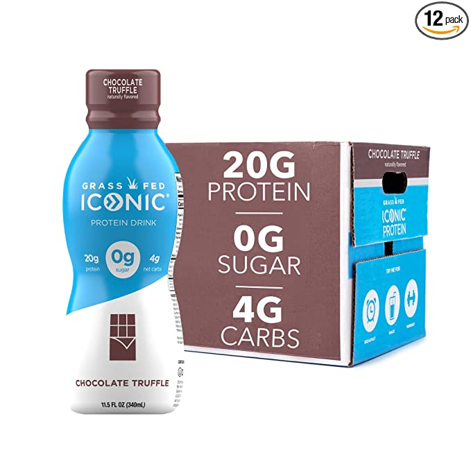 Amazon.com : Iconic Protein Drinks, Chocolate Truffle (12 Pack) | Low Carb Protein Shakes | Grass Fed, Lactose Free, Gluten Free, Non-GMO, Kosher | High Protein Drink | Keto Friendly : Grocery & Gourmet Food