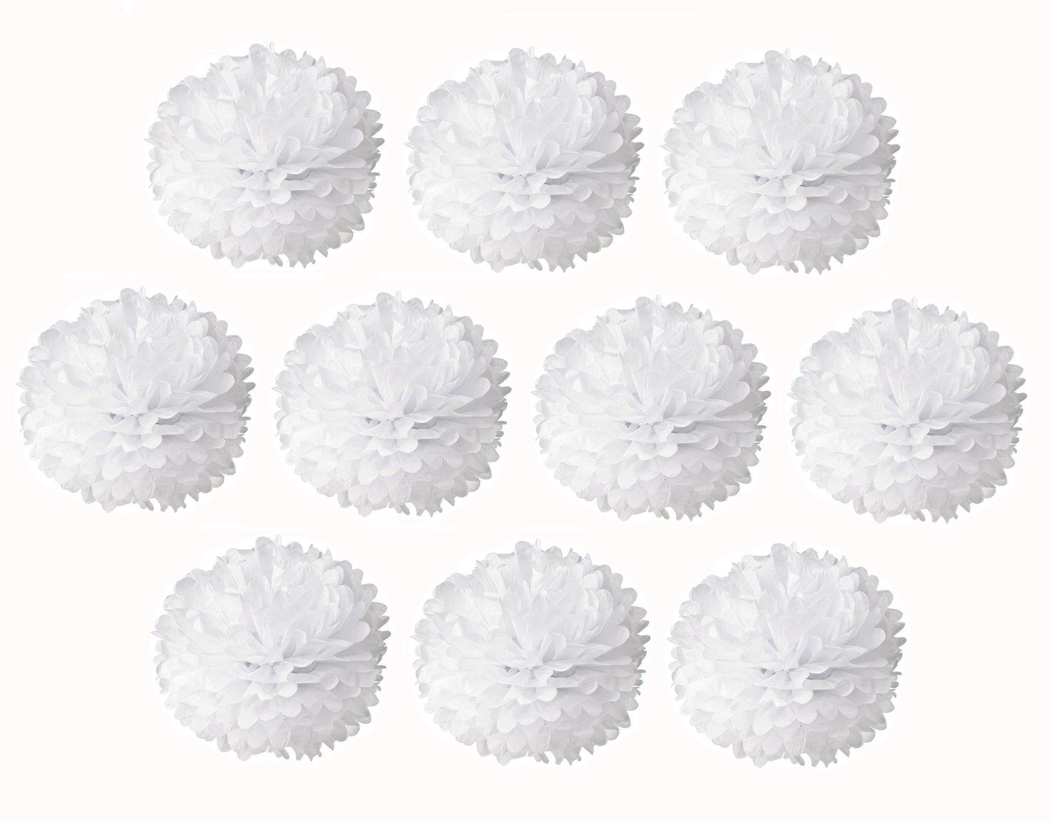 NectaRoy 10 Pompon Fiore Palla di Carta Bambino Decorazione Velina Decorativo Palla Fiore Per Matrimonio Party Compleanno Docce 10 pezzi (Bianca)