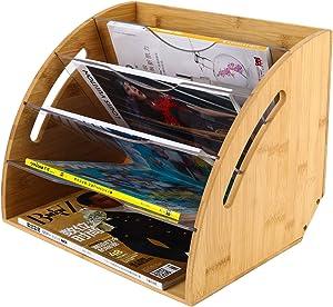 EasyPAG Fan Shaped Desk File Organizer Natural Bamboo 6 Sorter Magazine Holder
