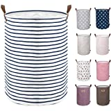 DOKEHOM 17.7-Inches Large Laundry Basket (9 Colors), Drawstring Waterproof Round Cotton Linen Collapsible Storage Basket…