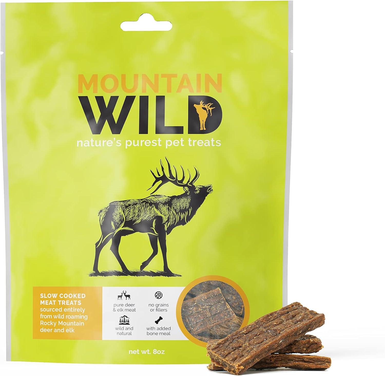 Wild Rocky Mountain Deer and Elk Jerky Treats - Grain Free - No Fillers - Natures Purest Dog Treats - 8 oz