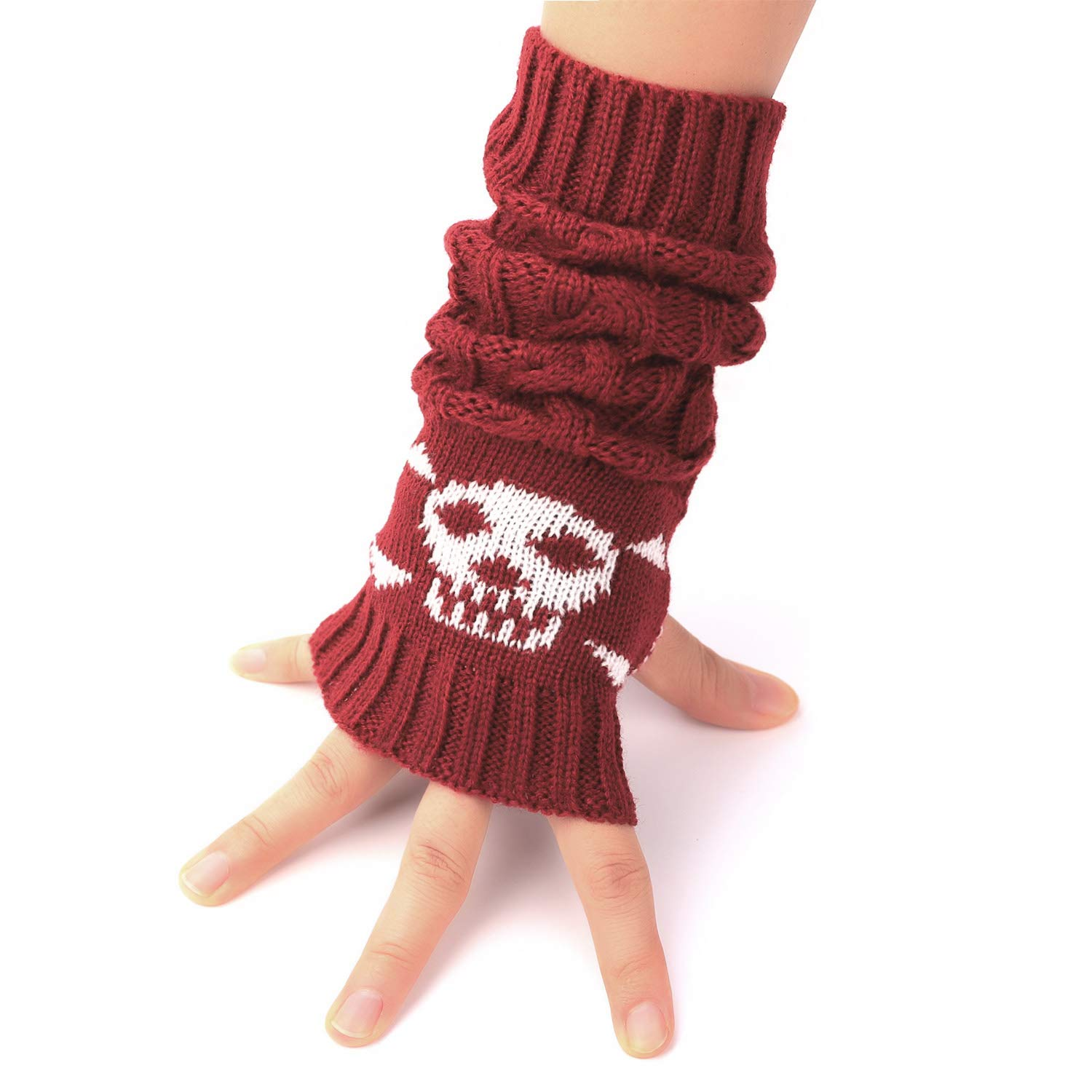 Flammi Cable Knit Fingerless Arm Warmers Skull Thumb Hole Gloves Mittens F Flammi