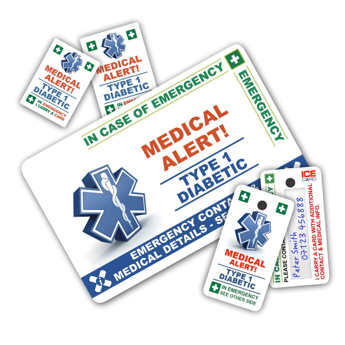 DIABETES In Case of Emergency (I.C.E.) ICE Card Pack with Key Rings & Stickers in TWO versions