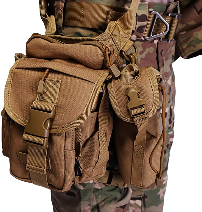 Image of a military man wearing a leg bag in brown color, buckle locks, side pockets seen