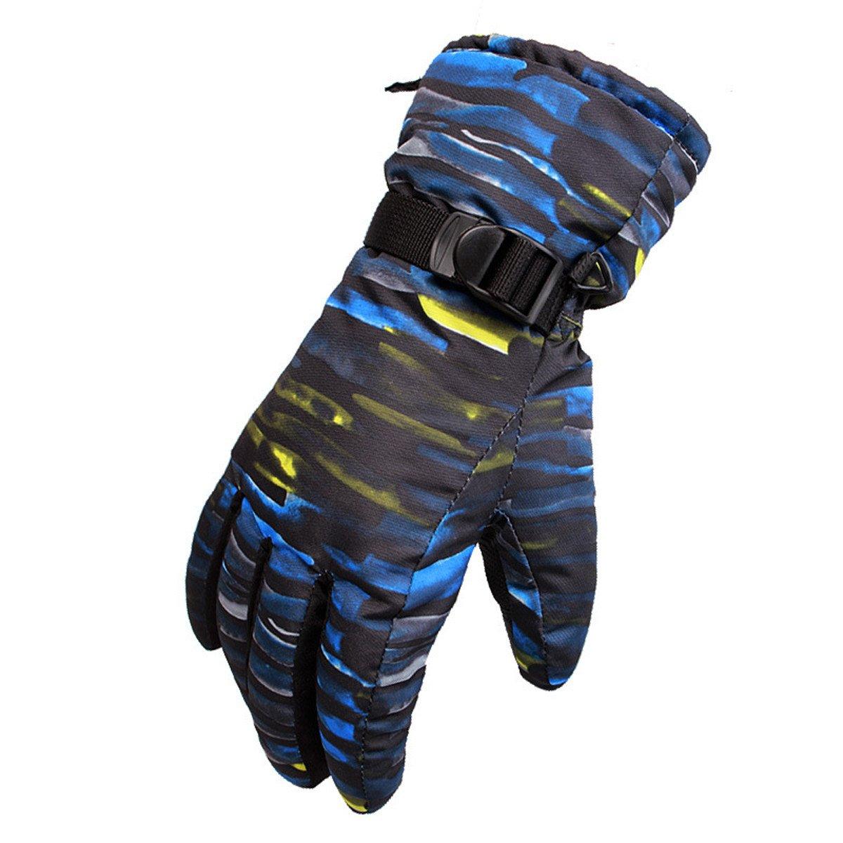 Outdoor Mann Frau Ski Touchscreen Handschuhe Reiten Bergsteigen Sport Warm Samt Paar Handschuhe,Blau-XL