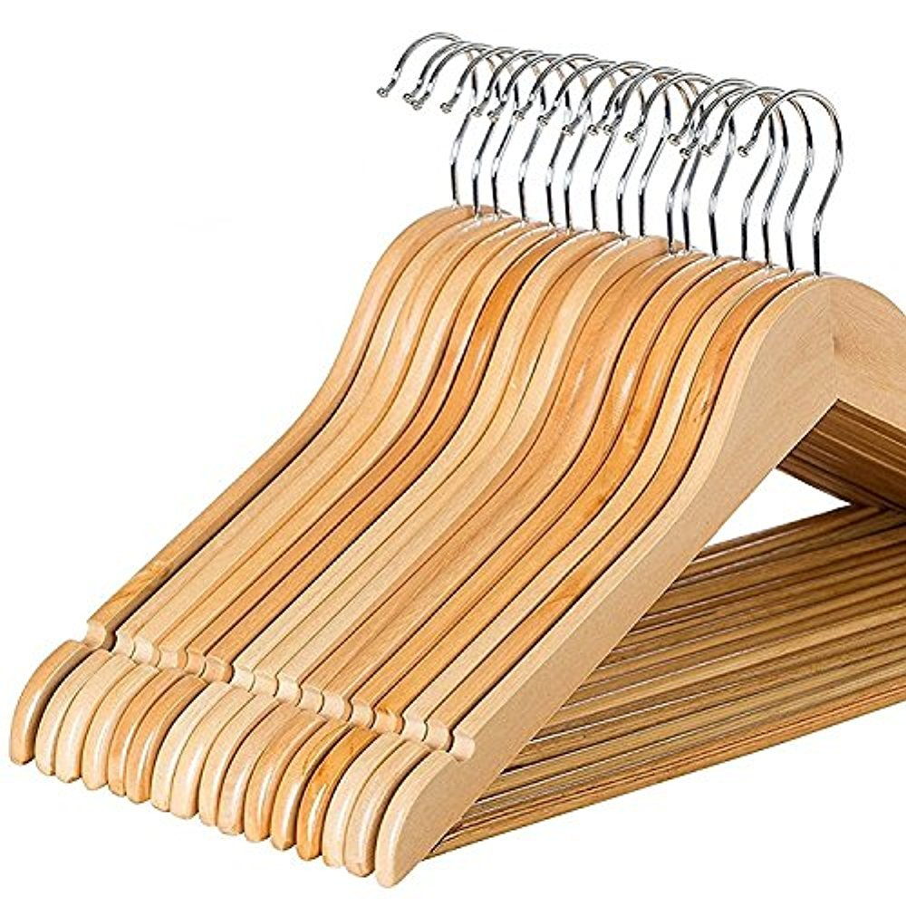 Zober Solid Wood Suit Hangers - 30 Pack - with Non Slip Bar and Precisely Cut Notches - 360 Degree Swivel Chrome Hook - Natural Finish Super Sturdy and Durable Wooden Hangers by ZOBER (Image #1)