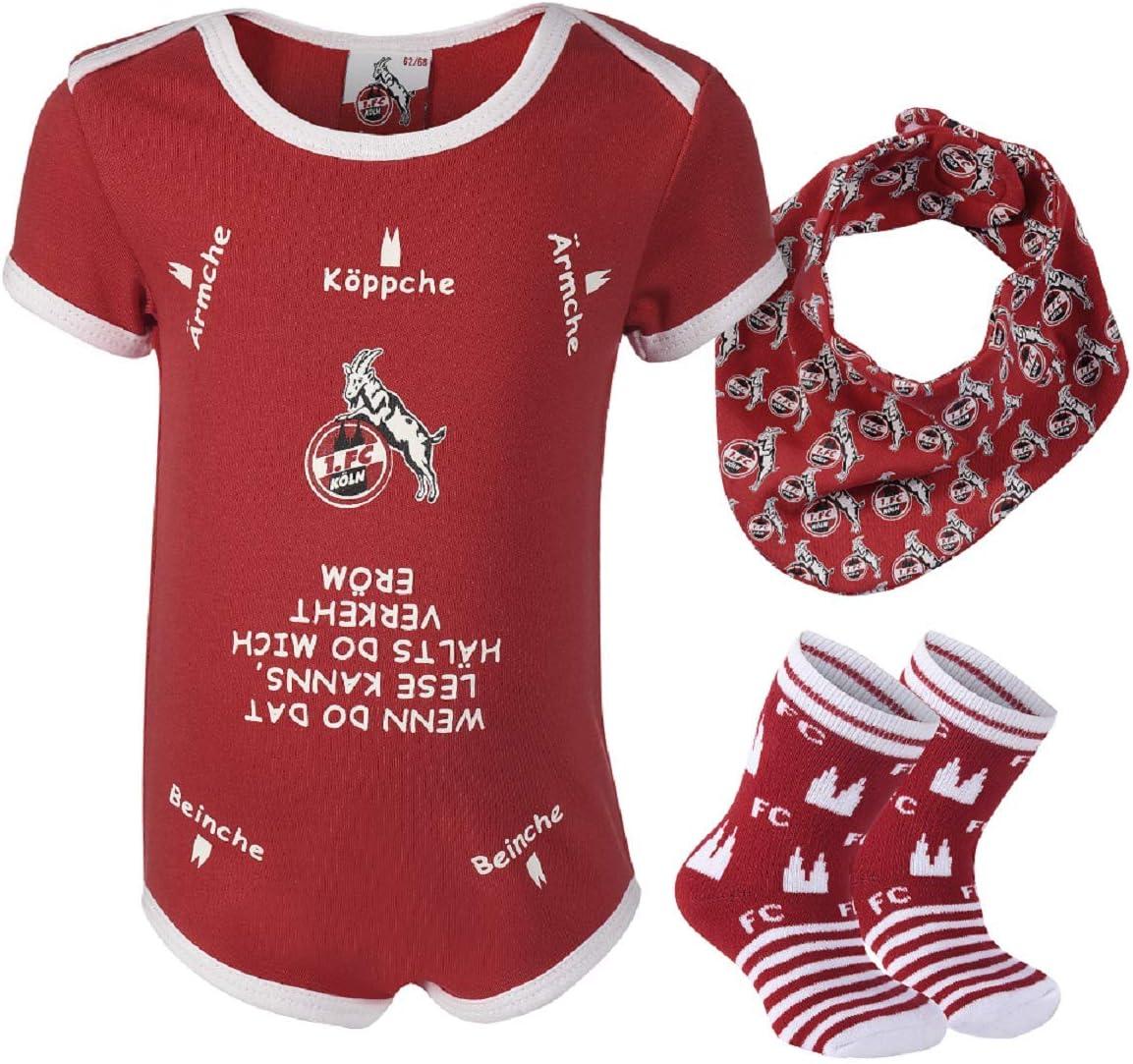 - Plus gratis Aufkleber Forever K/öln FC K/öln Baby Geschenkbox Body, S/öckchen, Halstuch 1