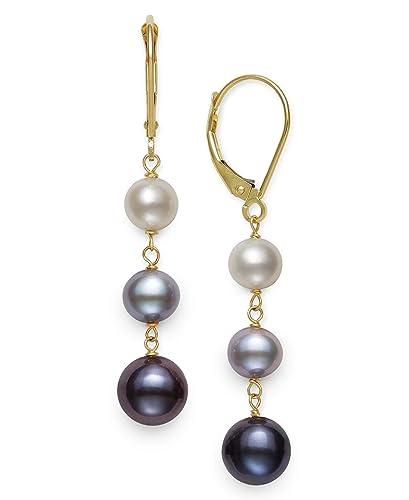 14k Yellow Gold Cultured Freshwater Pearl Trio Dangle Drop Earrings Multi-Black
