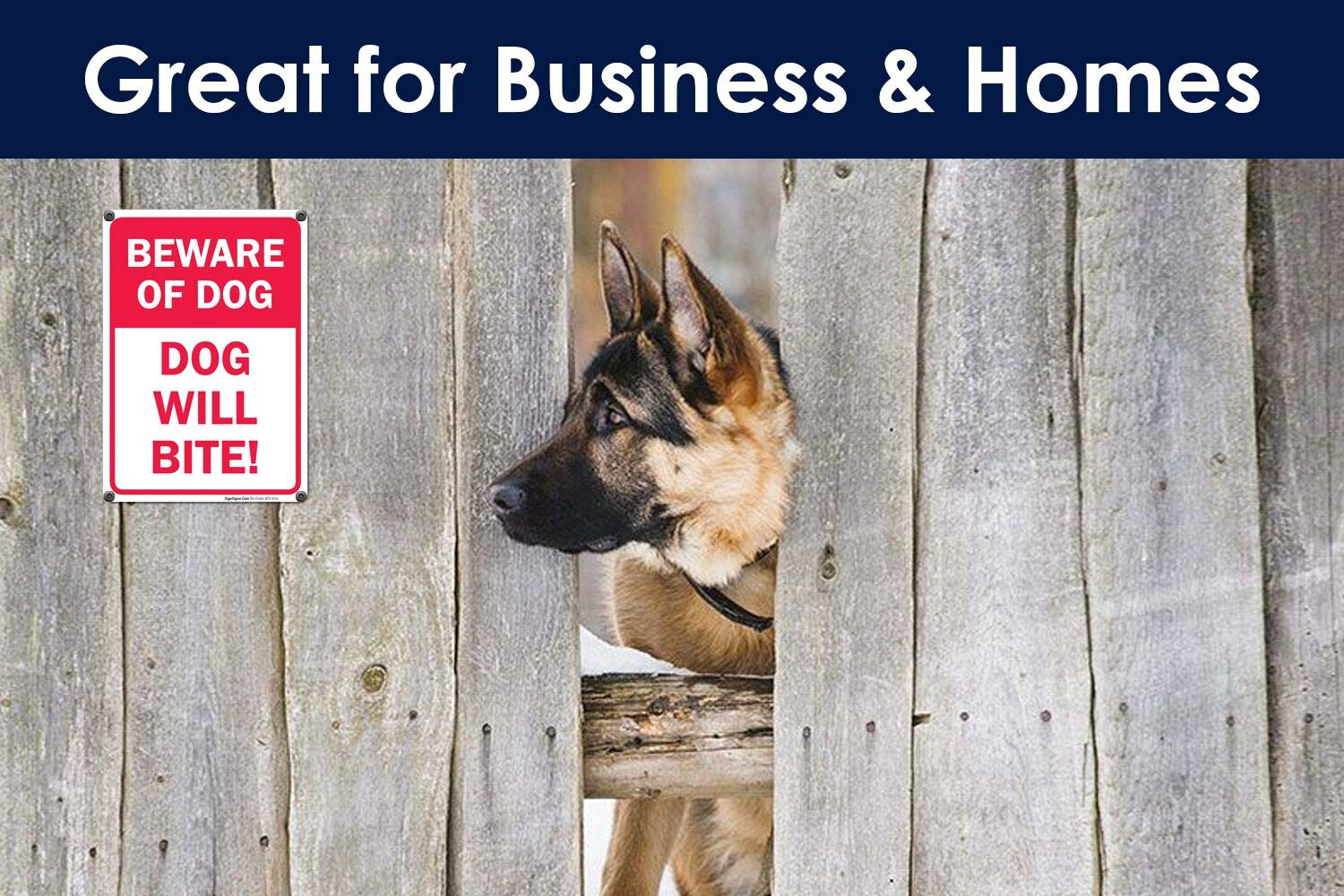 Beware of Dog Sign Dog Will Bite Sign 10x14 Rust Free .40 Aluminum UV Printed Easy to Mount Weather Resistant Long Lasting Ink Made in USA by SIGO SIGNS SI-834