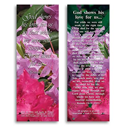 Bible Verse Cards, by eThought - Romans 5:8, God Shows His Love For Us -  Pack of 25 Bookmark Size Cards
