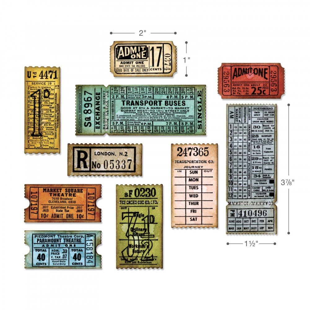 Tim Holtz Ticket Booth - Stampers Anonymous Cling Stamps and Sizzix Framelits Die Set by Tim Holtz (Image #2)