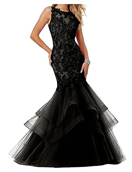 Stillluxury Appliques Beaded Mermaid Prom Evening Dresses Wedding Womens Formal Gown Black Size 6