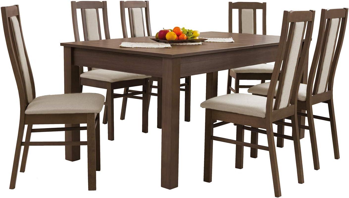 MB tosco Comedor con 6 sillas: 130 x 80 cm, 160 x 90 cm, 200 X90 Cm Extensible Tablero, Mesa de Comedor, Mesa Grupo, Essgruppe – Napa: Amazon.es: Juguetes y juegos