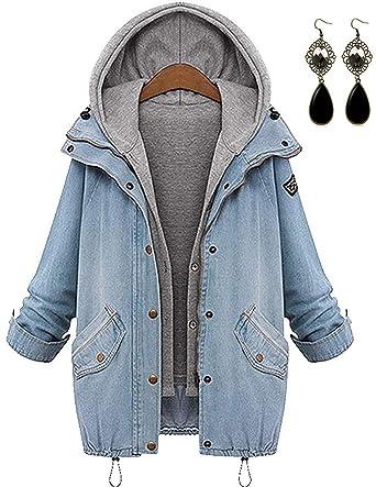 sitengle Damen Jeansjacke Denim Winterjacke Blazer Langarmshirt 2 in 1  Kurzjacke Freizeit Oberteil Strickjacke Jäckchen Tops Mäntel Outwear   Amazon.de  ... 087174f650