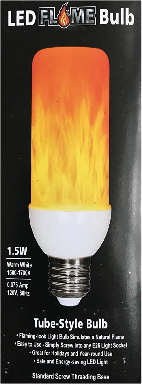 1.5W Warm White EZ-Illuminations Tube-Style LED Flame Bulb
