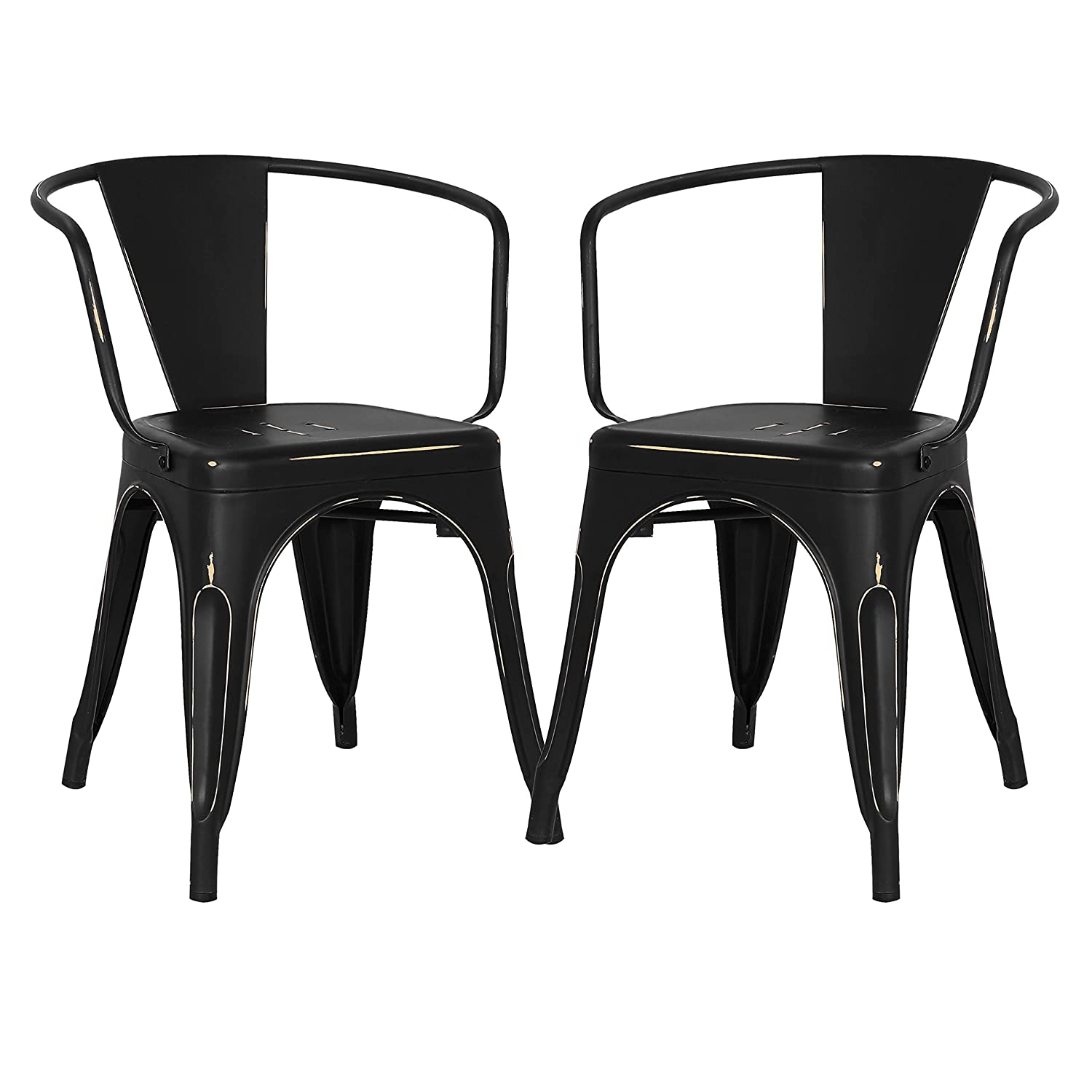 Poly and Bark Trattoria Arm Chair in Distressed Black Set of 2