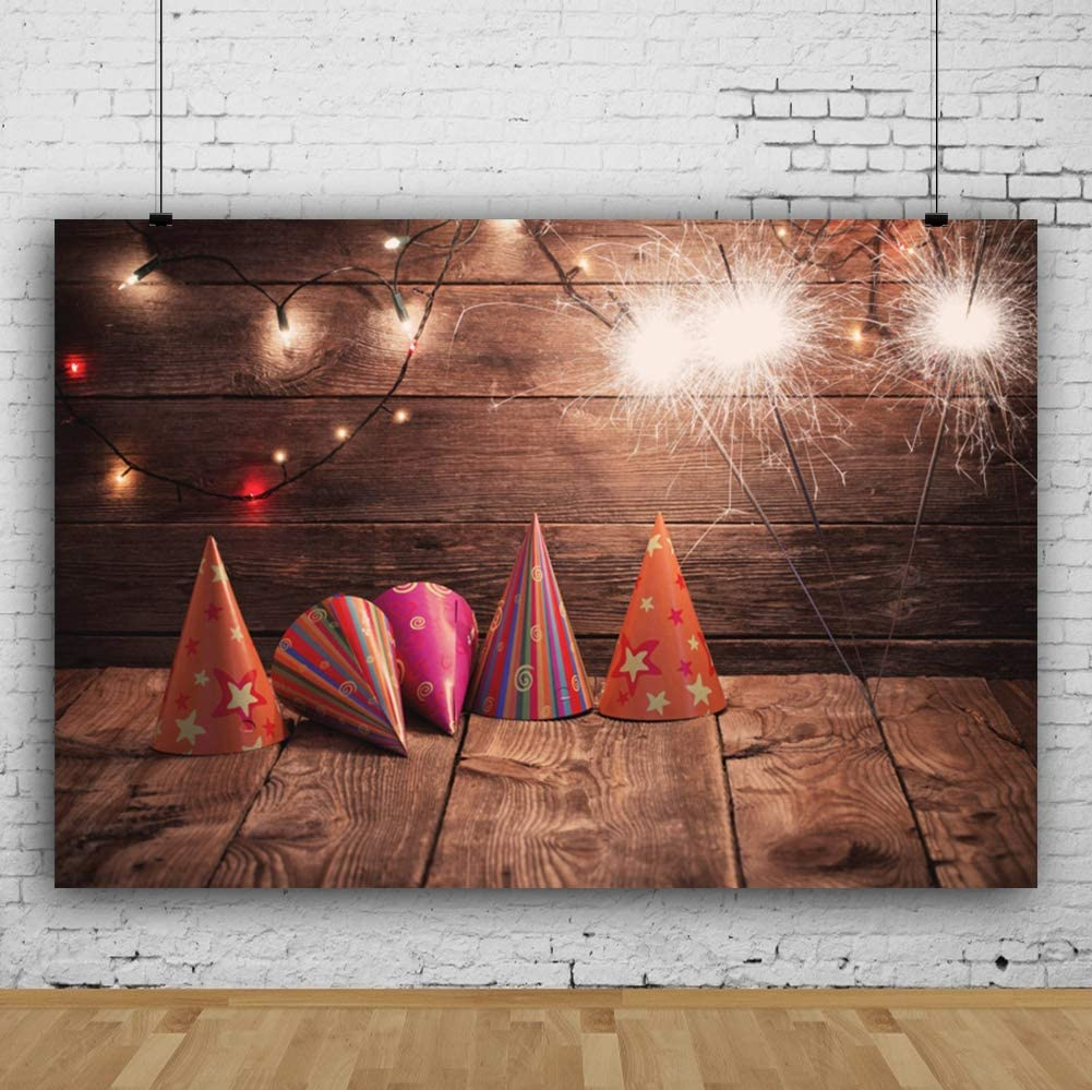 Laeacco Birthday Carnival Party Background 10x6.5ft Wooden Floor Wall Vinyl Photography Backdrop Colorful Hats Caps Colored Christmas Lights Fireworks Festival Prom Poster Decor Studio Photo Prop