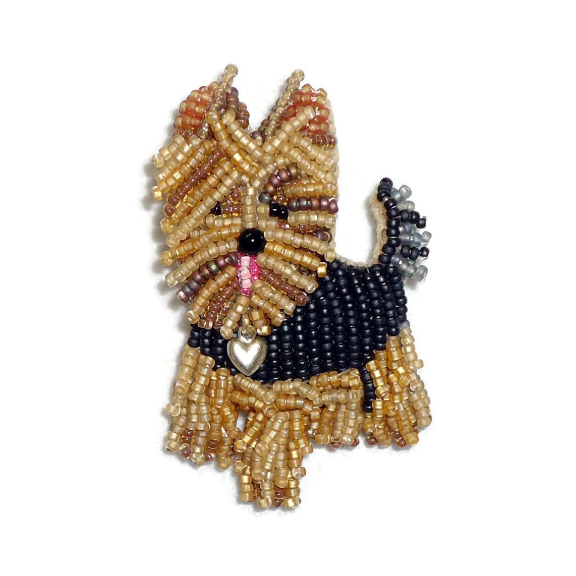 YORKIE LOVE beaded Yorkshire Terrier dog pin pendant necklace (Made to Order)