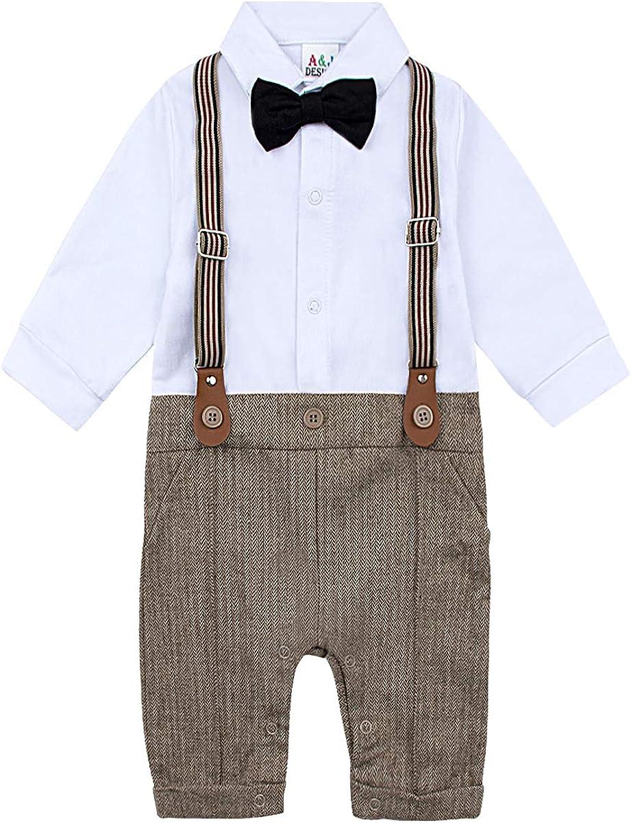 A/&J DESIGN Set 3 Pezzi per Neonato 0-18 Mesi Gentleman Jumpsuit /& Vest Coat /& Berets con Papillon e Bretelle