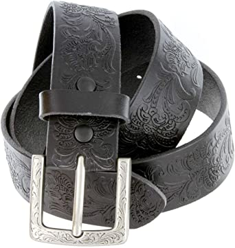 """Western Floral Engraved Patina Buckle Tooled Full Grain Leather Belt 1-1//2/"""" wide"""