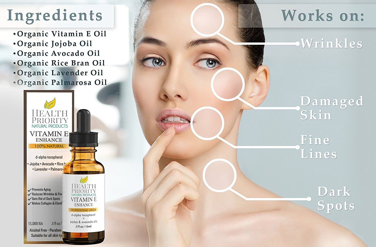 100% All Natural & Organic Vitamin E Oil For Your Face & Skin - 15,000/30,000 IU - Reduces Wrinkles, Lightens Dark Spots, Heals Stretch Marks & Surgical Scars. Best Treatment for Hair, Nails, Lips by Health Priority Natural Products (Image #6)