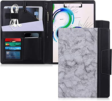 Black Toplive Portfolio Case Padfolio for Business School Office Conference Up to 10.5 Tablet Tablet Sleeve Business Card Holder Executive Business Document Organizer with Letter Size Clipboard