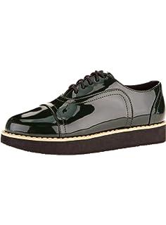 Vinstoken Zapatos de Cordones Vestir Brogue Para Mujer Talón Plataforma 4.5 CM Negro Blanco Albaricoque 38