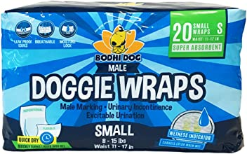 Disposable Dog Male Wraps   20 Premium Quality Adjustable Pet Diapers with Moisture Control and Wetness Indicator   20 Count