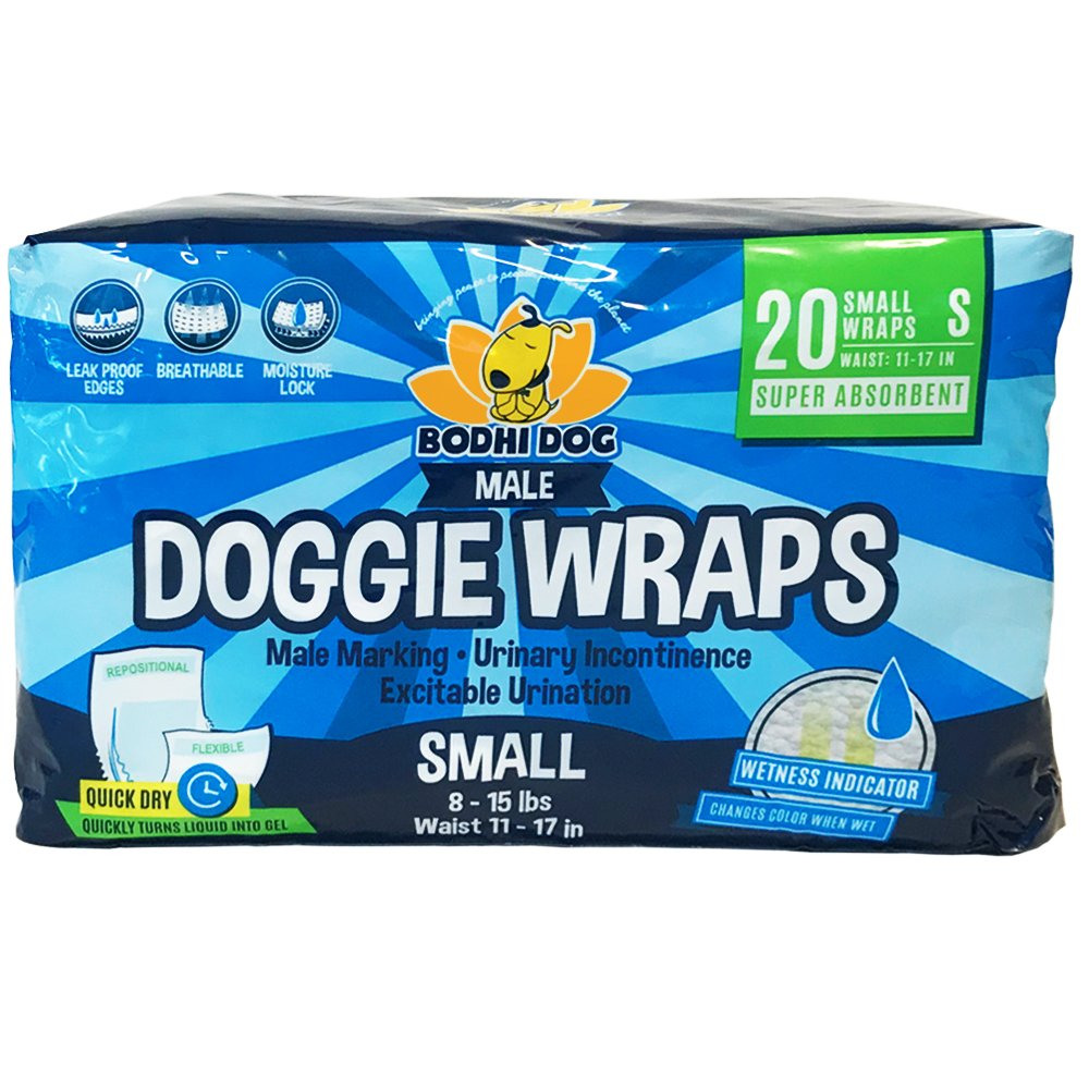 Disposable Dog Male Wraps | 20 Premium Quality Adjustable Pet Diapers with Moisture Control and Wetness Indicator | 20 Count Small Size