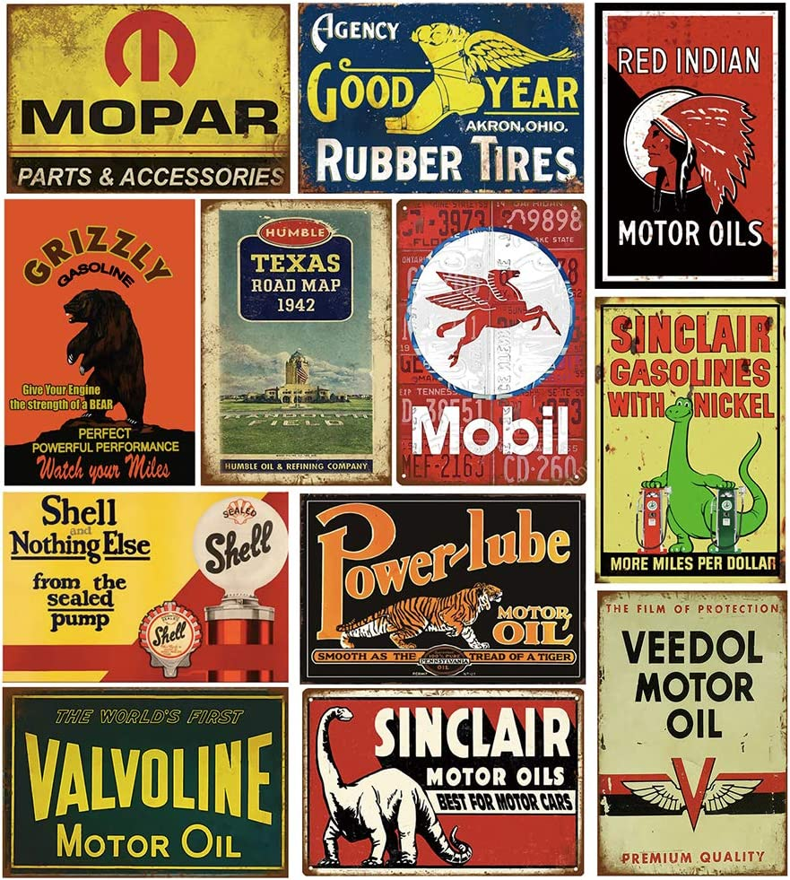 Tin Signs Reproduced Vintage, Gas Oil Retro Advert Metal Sign for Garage Man Cave Bar Kitchen, 8x12 Inch (12 pcs Combination A)