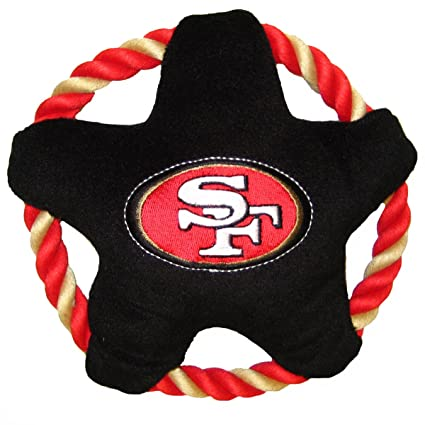 NFL SAN FRANCISCO 49ERS Star Disk Flying Pet Toy with Tough Ropes   inner  Squeaker for 2f275263d