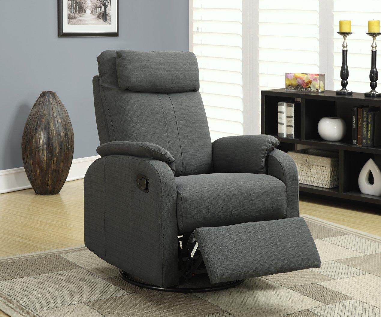 Amazon com monarch specialties charcoal grey linen fabric swivel rocker recliner kitchen dining