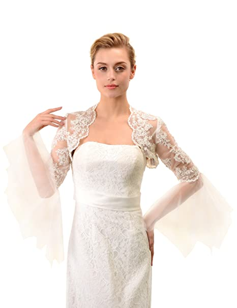 Topwedding Long Sleeves Beaded Ivory Lace Wedding Bolero