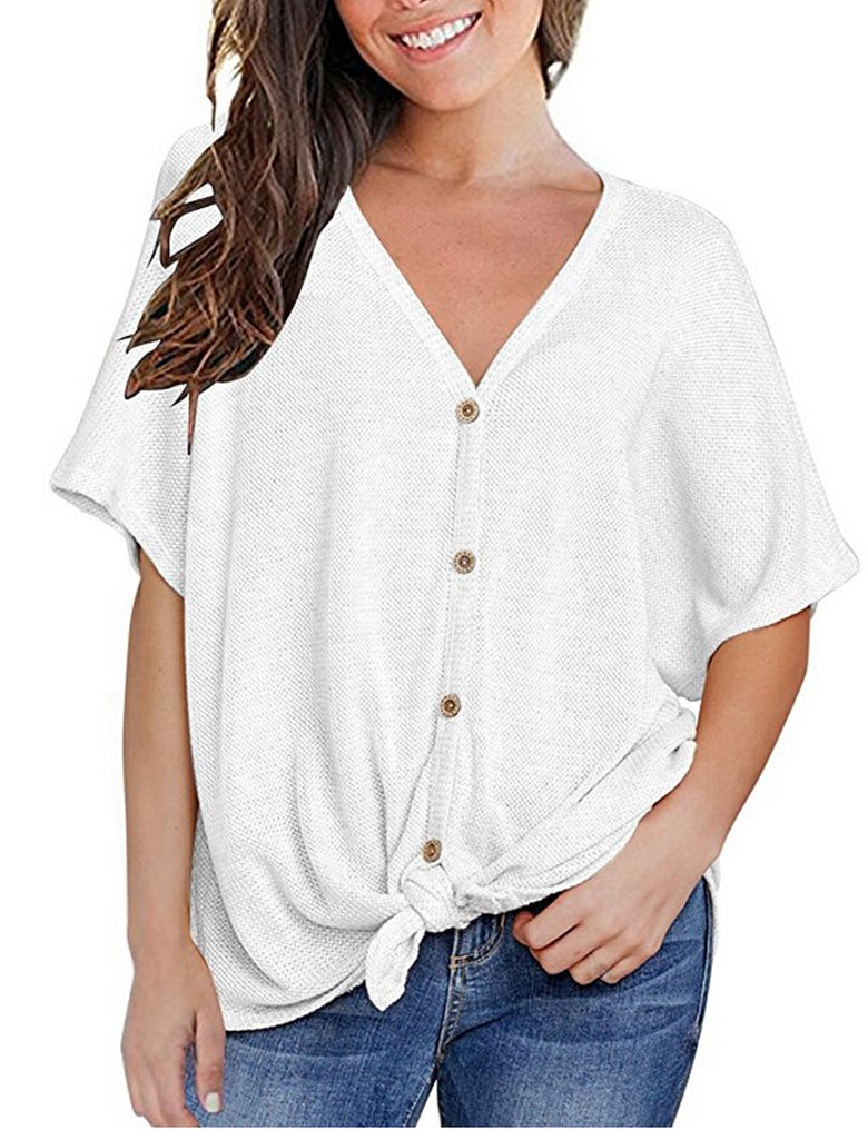 Halife Womens Casual Ribbed Scoop V Neck Blouses Bow Knot Front Plain Tee Tops White,S