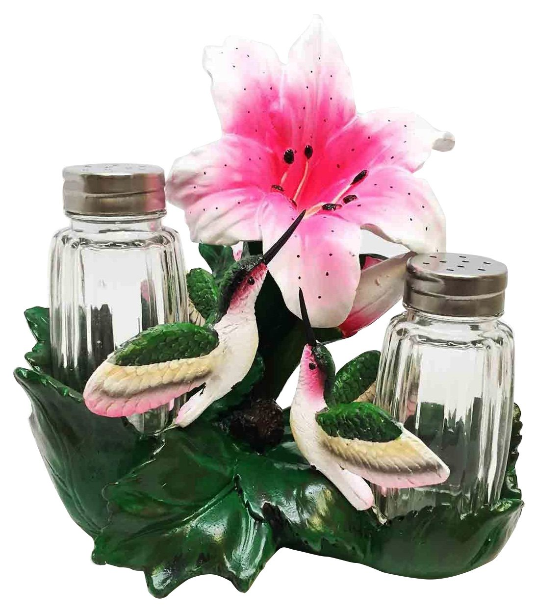 BEAUTY OF NATURE HUMMINGBIRDS WITH NECTARINE BLOOMS SALT PEPPER SHAKER HOLDER by ATL