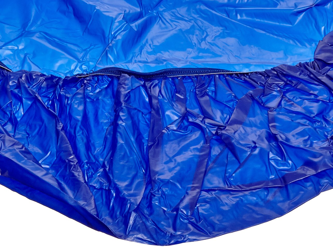 Kwik-Cover 48UM-B 48'' Round UMBRELLA Kwik-Cover- Blue Fitted Table Cover (1 full case of 100)