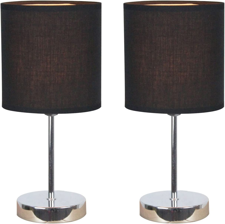 Simple Designs LT2007-BLK-2PK Chrome Mini Basic 2 Pack Fabric Shades Table Lamp Set, Black, 2 Count