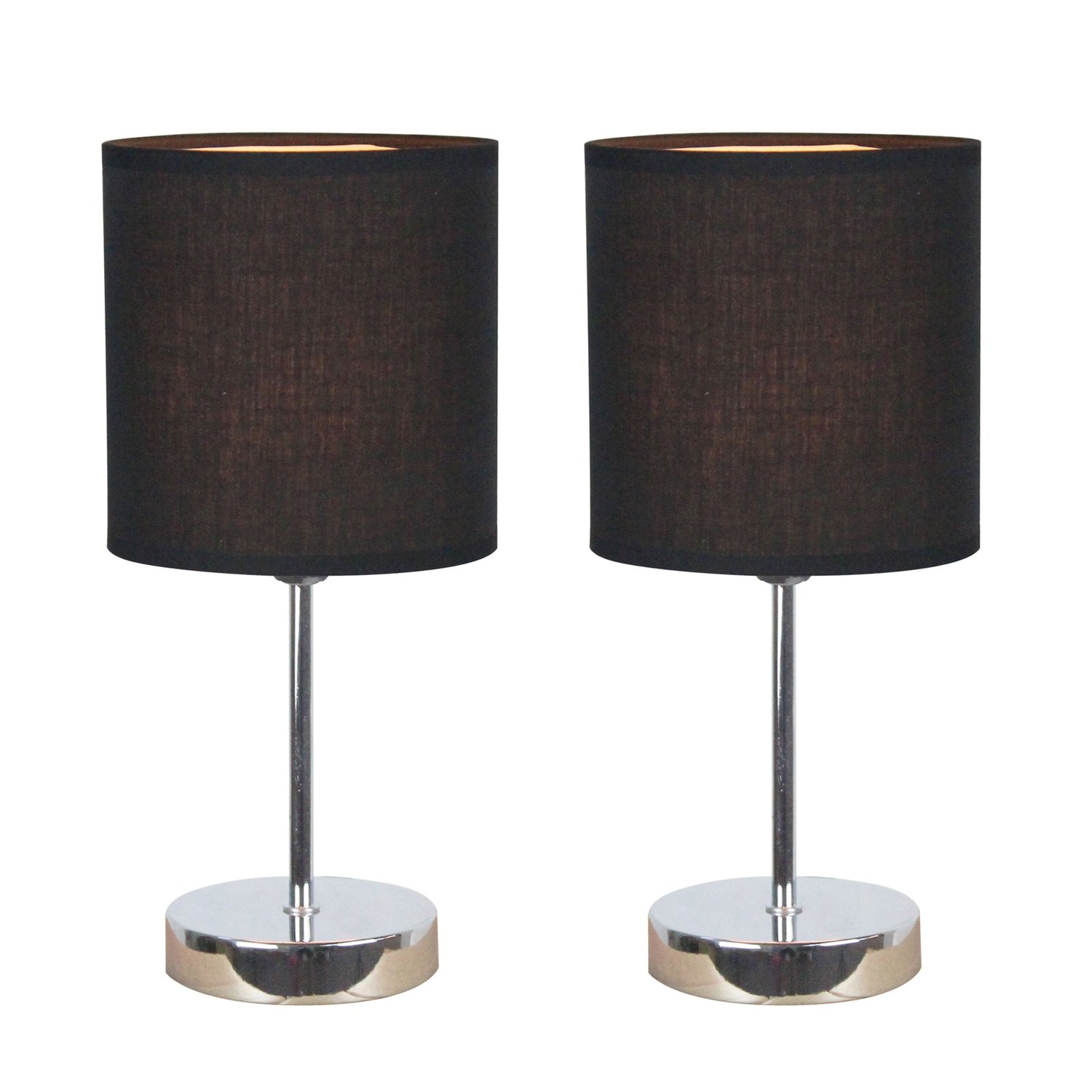 Amazon white floor lamps lamps shades tools - Simple Designs Lt2007 Blk 2pk Chrome Mini Basic Table Lamp 2 Pack Set With