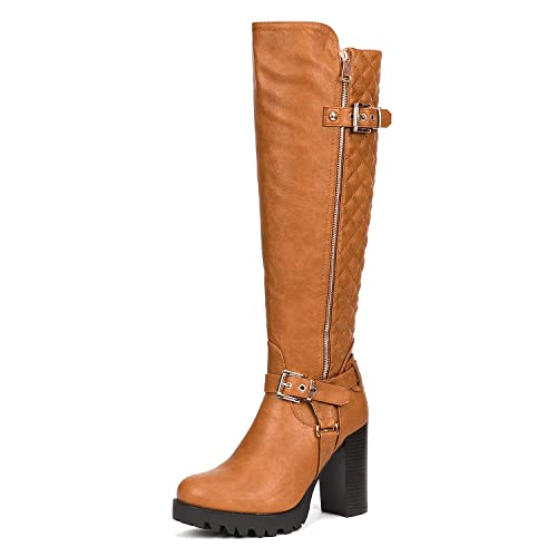 e62b2c57421 DREAM PAIRS Women s FUNI Camel Chunky Heel Knee High Winter Boots Size 5 B(M