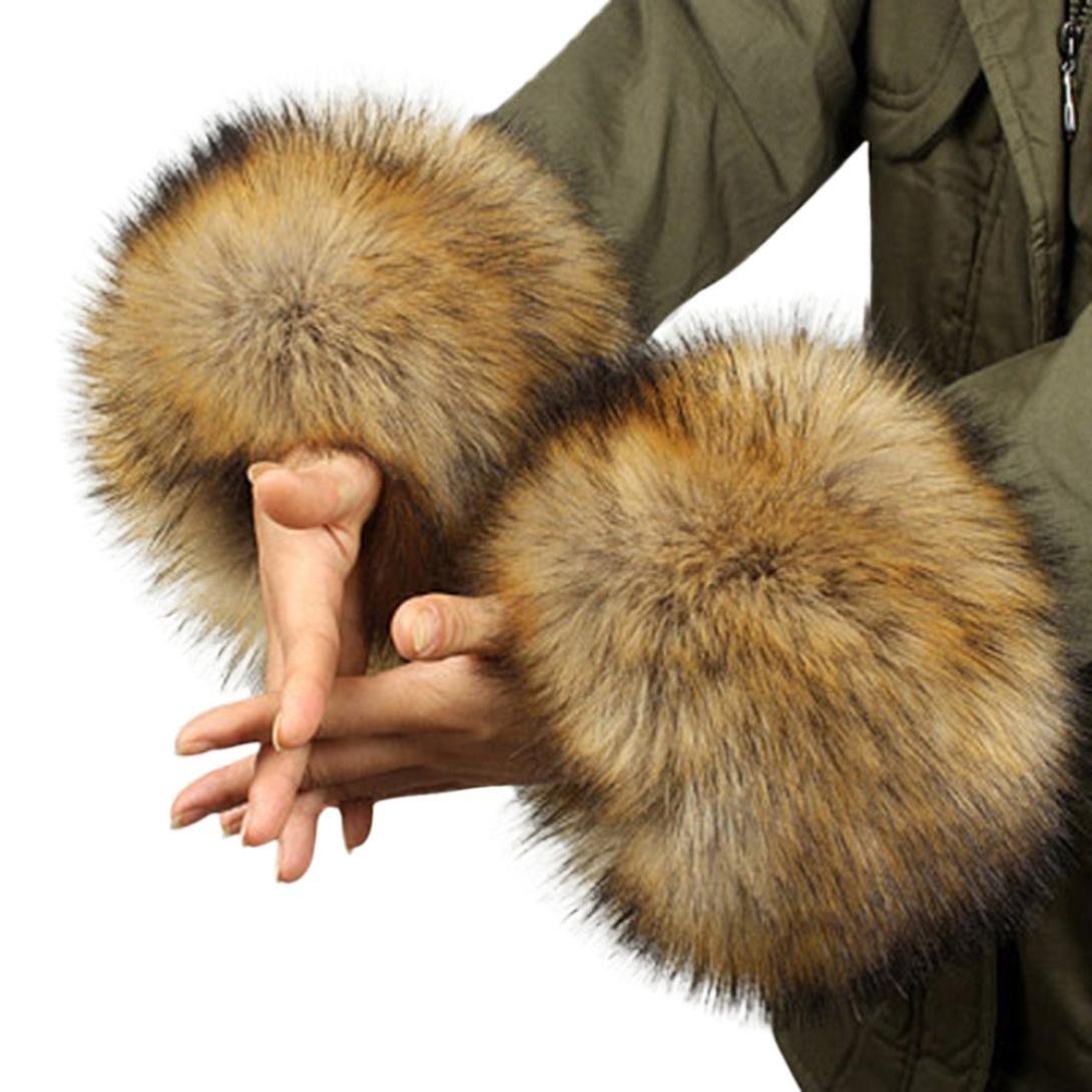 KEERADS Women's Winter Faux Fur Wrist Cuff Bracelet Warmers KD-1205