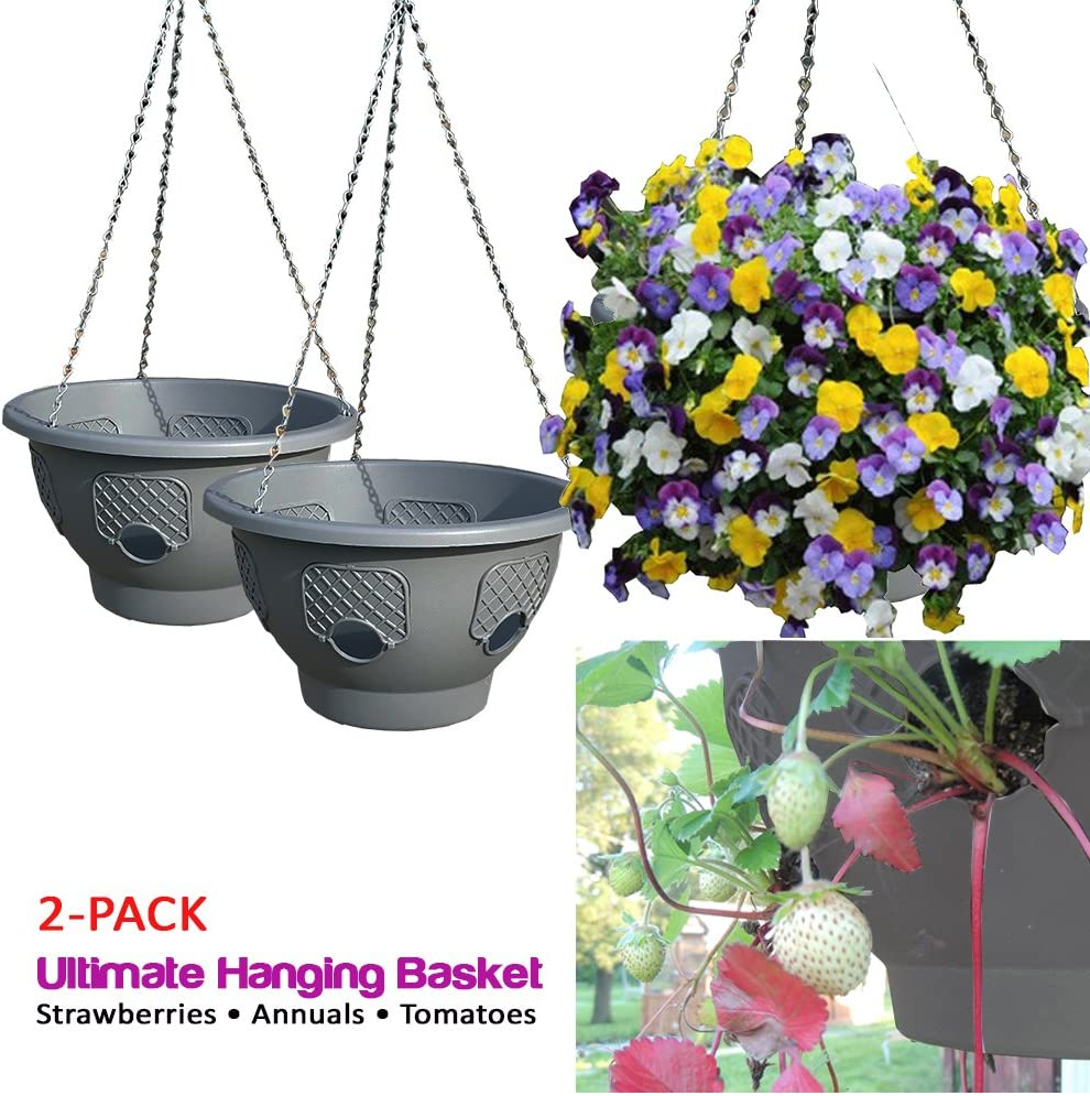 Ultimate Hanging Baskets - Strawberry, Tomato, Flower, and Herb Outdoor Planters - Use Garden Pots for Growing Plants Outside On A Deck, Fence, or Balcony (2)