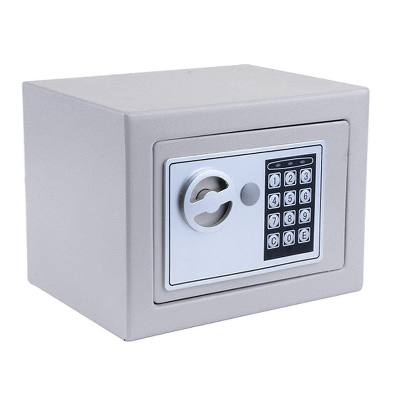 Kaluo Small Home Safe Security Safe Box Electric Digital Lock Wall Cabinet Safe for Jewelry Cash, 8.9'' X 6.5'' X 6.5'', with 2 Keys (Silver Grey)