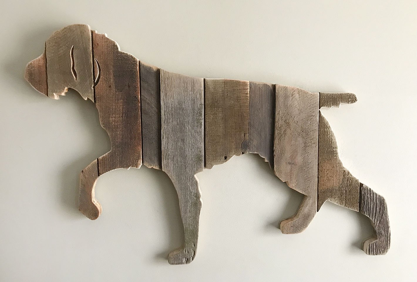 German Wirehaired Pointer silhouette made with reclaimed wood