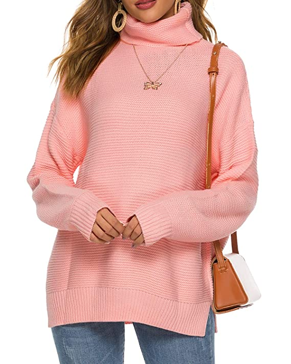 LIOFOER Womens Turtleneck Long Sleeve Chunky Knit Pullover Sweater Pink, (US) X-Large best women's turtlenecks