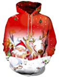 Hgvoetty Unisex Funny Print Ugly Christmas Hooded