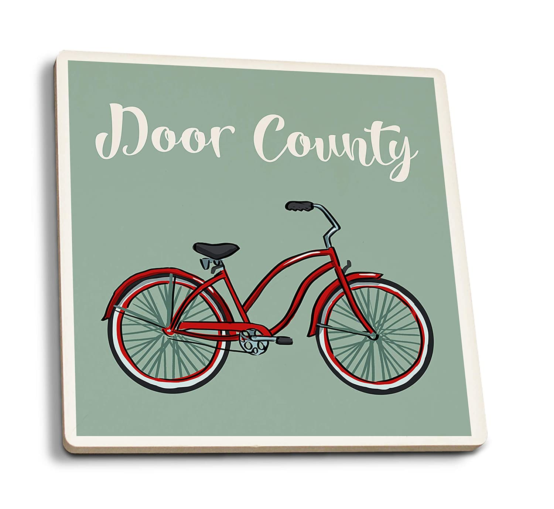 ドア郡 ウィスコンシン クルーザーバイク 4 Coaster Set LANT-87445-CT 4 Coaster Set  B07K5JBFNS