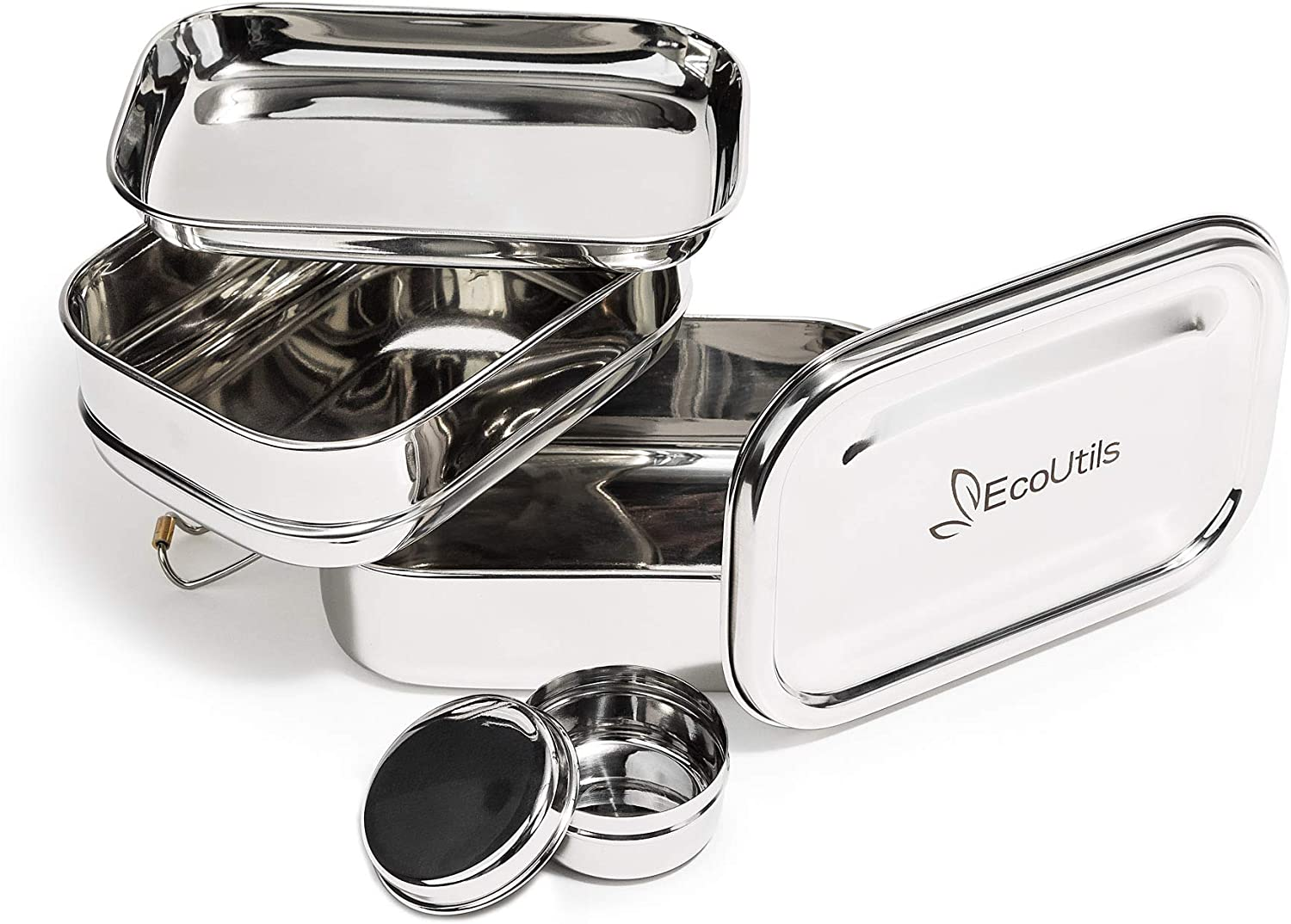 EcoUtils Stainless Steel Bento Lunch Box | FDA Passed | BONUS Nested Leak Resistant Sauce Container|Food grade quality + 3 in 1 Stack Design|For adults,teens and kids|Space Saver|Healthy Meal Storage