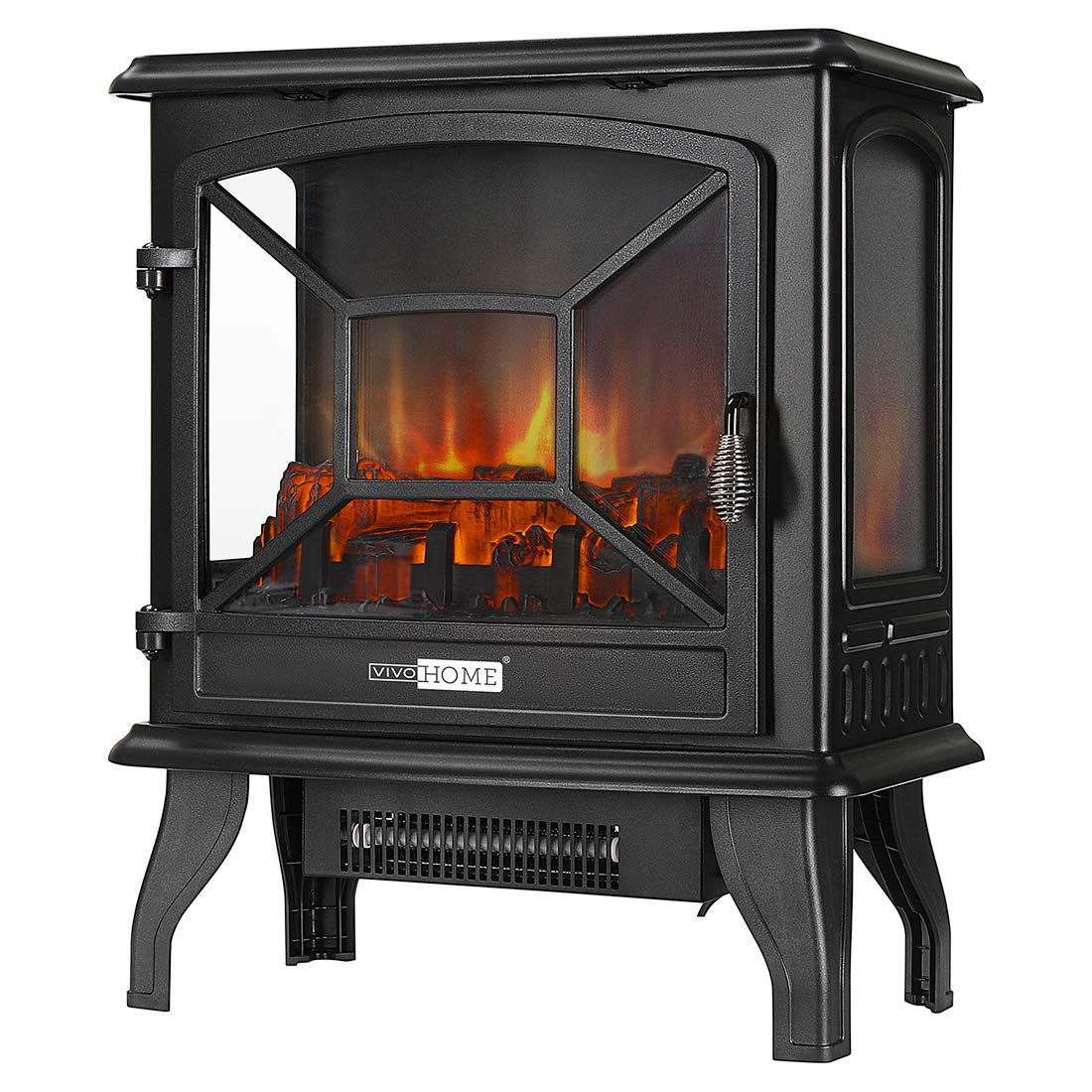 VIVOHOME 23 Inch 1400W Portable Free Standing Electric Fireplace Stove Heater with Realistic Log Flame Effect